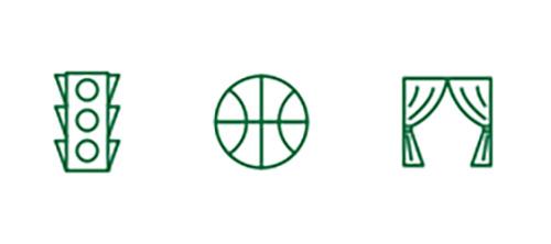 紅綠燈,籃球和舞台表演圖標代表遠距離視線改善