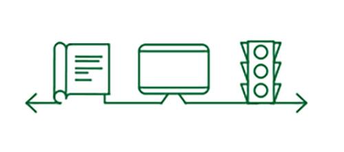 書本,電腦,交通號誌圖標顯示遠距離視力得到改善